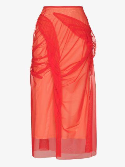 tulle-overlay asymmetric skirt