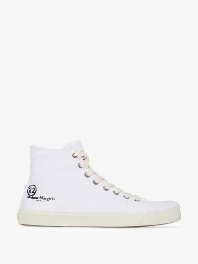 white Tabi high top sneakers
