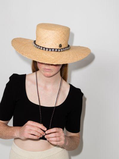 beige Lana woven boater hat