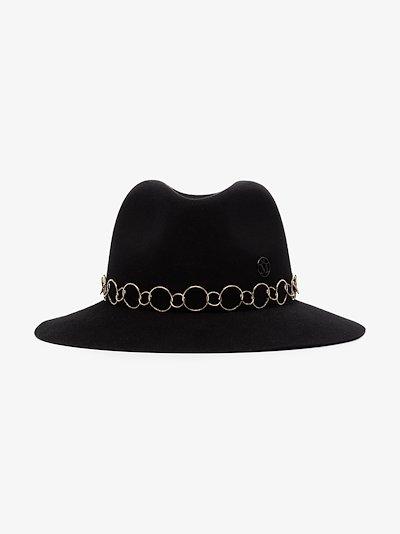 black Henrietta chain felt fedora
