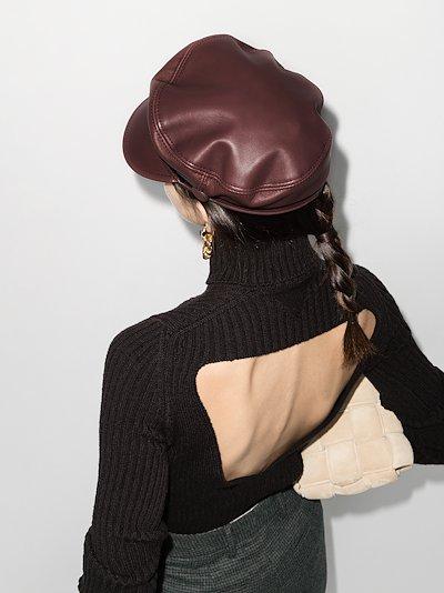 Burgundy Abby leather baker boy hat
