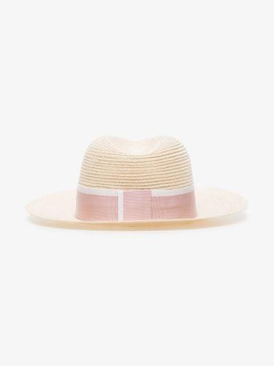 pink Henrietta straw fedora hat