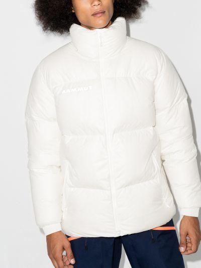 white reflective logo puffer jacket