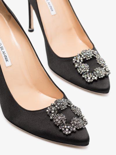 Black Hangisi 105 jewel buckle pumps