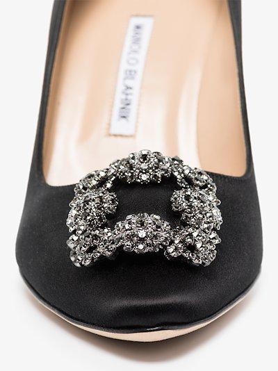black Hangisi 70 jewel buckle pumps