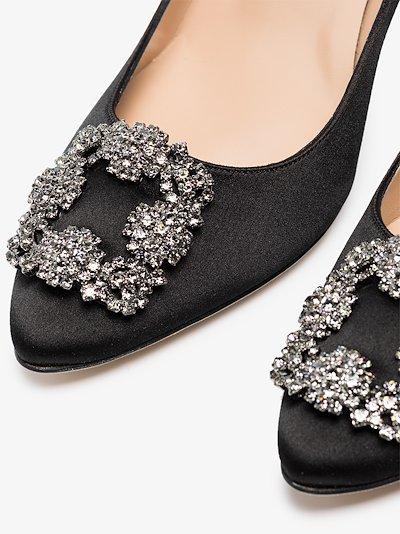 black Hangisi 90 jewel buckle pumps