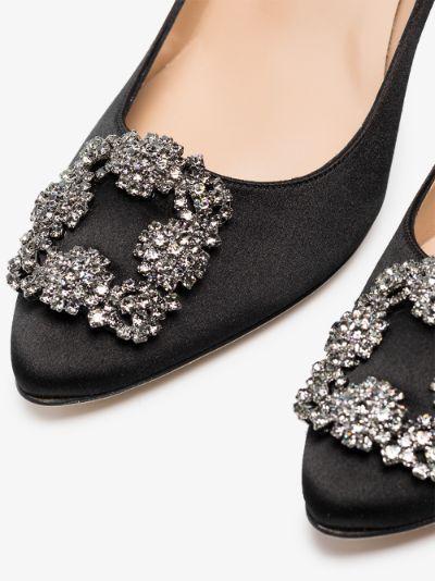 black Hangisi 90 jewel buckle satin pumps