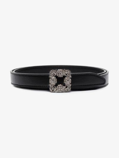 black Hangisi crystal buckle leather belt