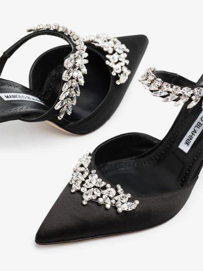 Black Lurum 90 embellished satin mules