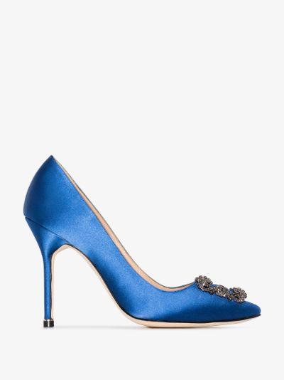 blue Hangisi 105 jewel buckle pumps