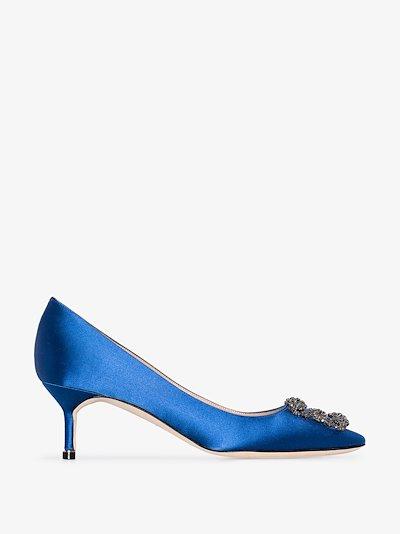 blue Hangisi 50 jewel buckle pumps