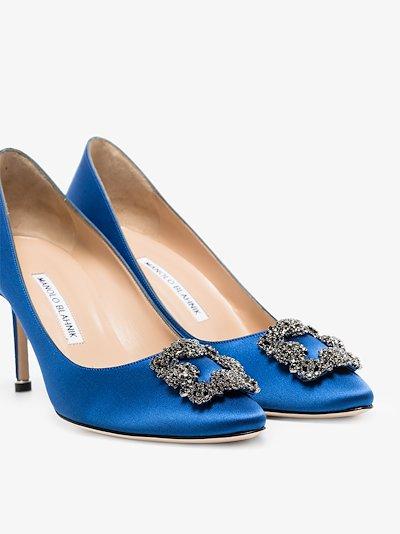 blue Hangisi 70 jewel buckle pumps