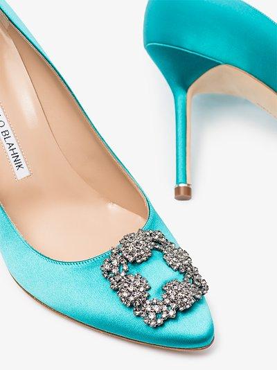 blue Hangisi 90 jewel buckle pumps