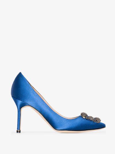 blue hangisi 90 jewel buckle satin pumps