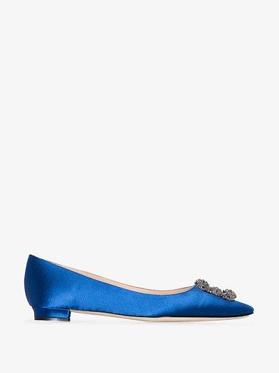 blue Hangisi jewel buckle flat pumps