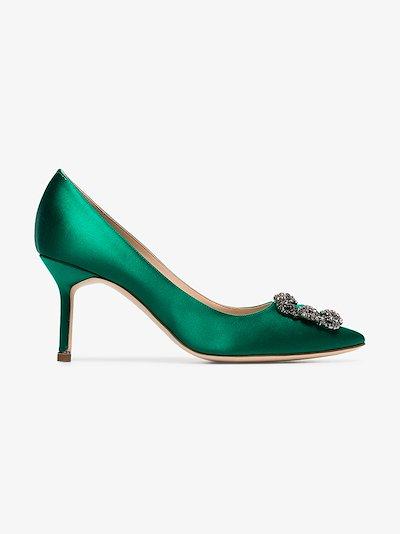 green Hangisi 70 jewel buckle pumps