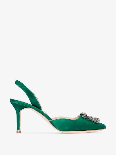 Green Hangisi 70 jewel buckle slingback satin pumps