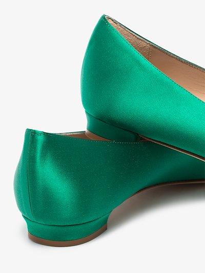 green Hangisi jewel buckle flat pumps