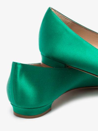 green Hangisi satin flat pumps