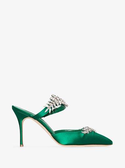 Green Lurum 90 crystal embellished mules