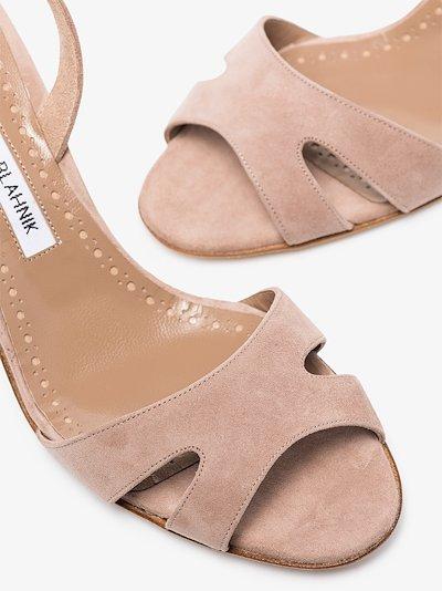 neutral Maldura 70 suede slingback sandals