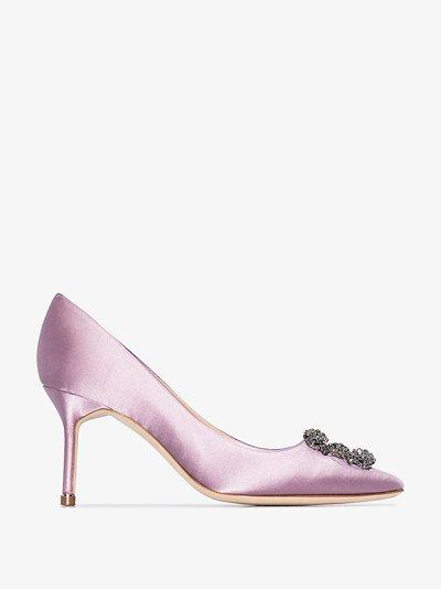 pink Hangisi 70 satin jewel buckle pumps