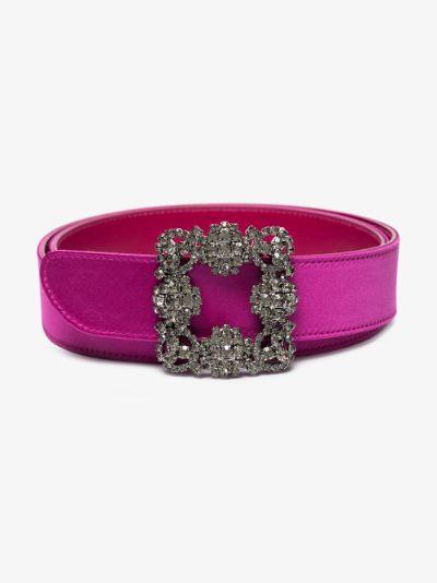 pink Hangisi crystal buckle satin belt