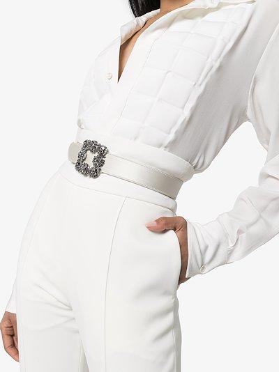 white Hangisi crystal buckle belt