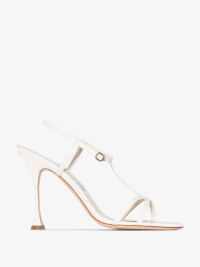 white Raqui 105 snake print leather sandals