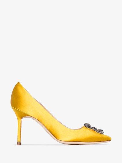 yellow Hangisi 90 jewel buckle satin pumps