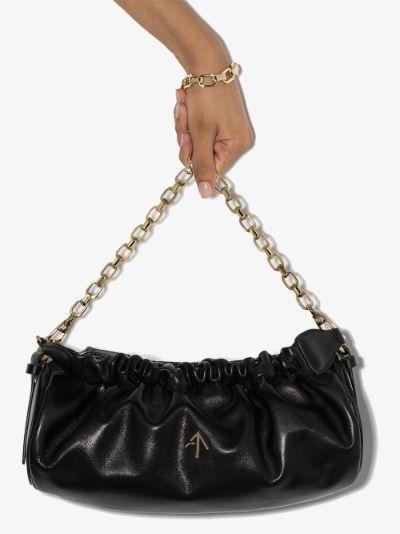 black Cylinder ruched leather shoulder bag
