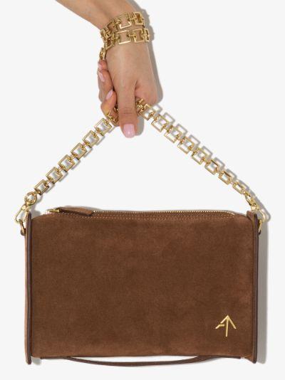 Brown Carmen suede shoulder bag