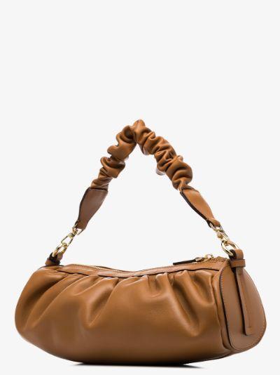 brown Cylinder ruched leather shoulder bag