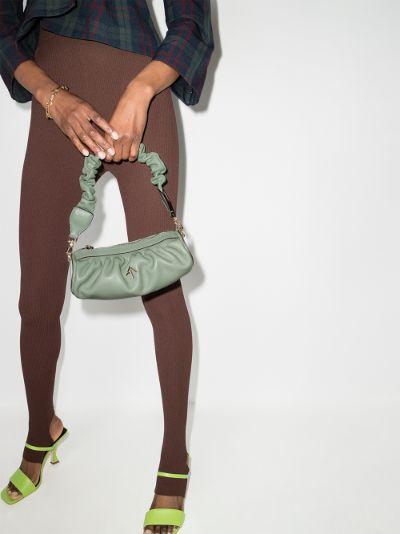 Green mini Cylinder ruched leather shoulder bag