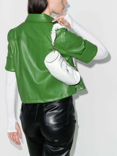 white Mini Cylinder ruched leather shoulder bag