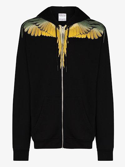 Wings print cotton hoodie