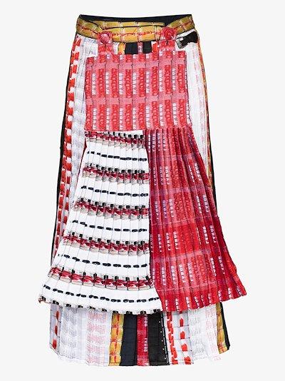 Mixed print pleated midi skirt