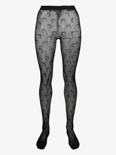 black crescent moon fishnet tights