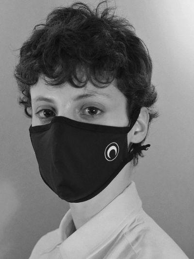 Black crescent moon print face mask