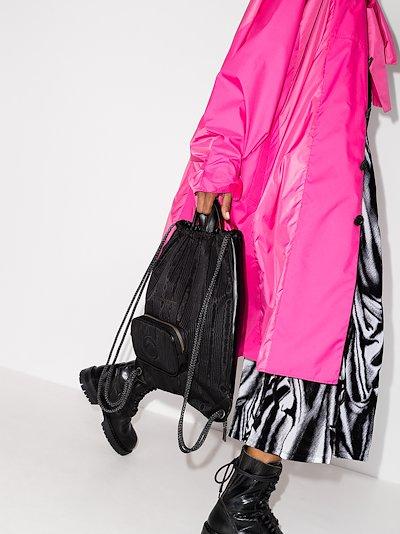 black moiré leather backpack
