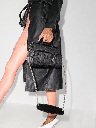 Black moiré shoulder bag