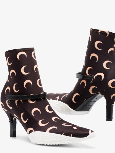 brown 50 crescent moon sock boots