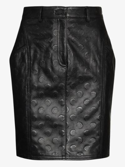 crescent moon print leather mini skirt