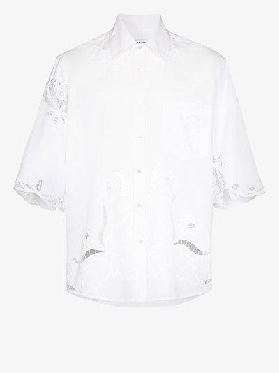 cutout patterned cotton shirt