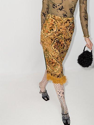 Fringed Floral jacquard skirt