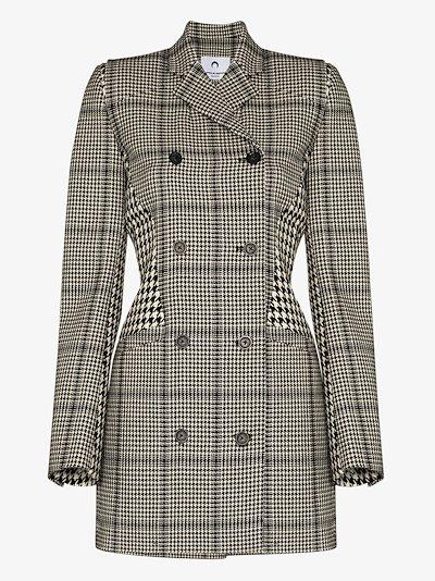 houndstooth print panelled longline blazer