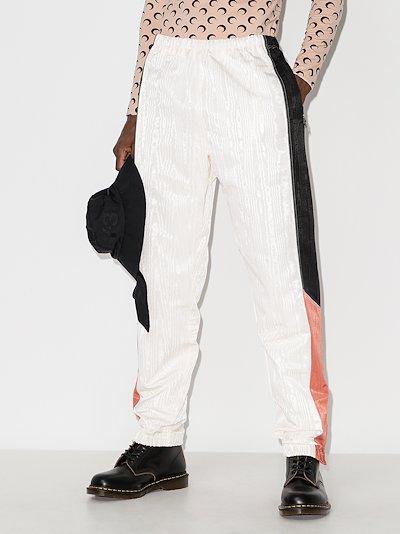 panelled Moiré track pants