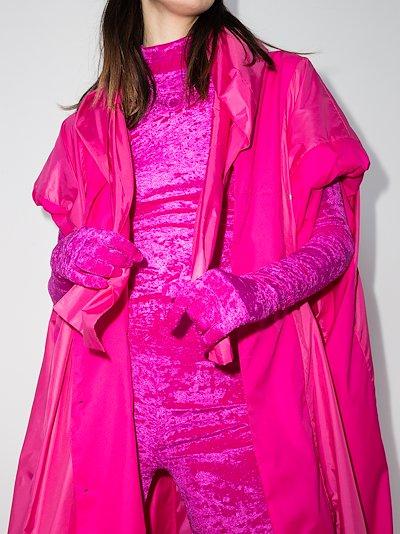 pink reflective long velvet gloves
