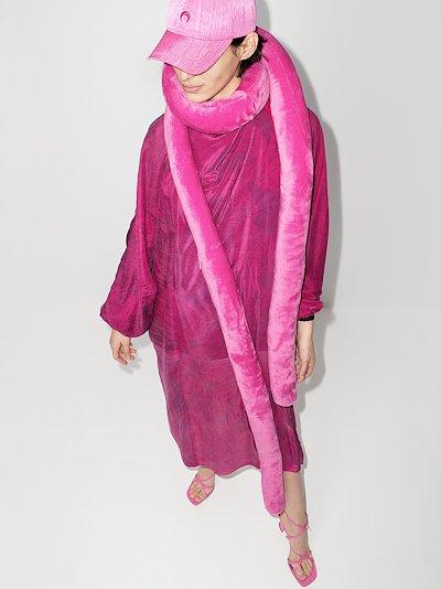 pink tubular fleece scarf