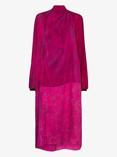 upcycled patchwork silk midi dress